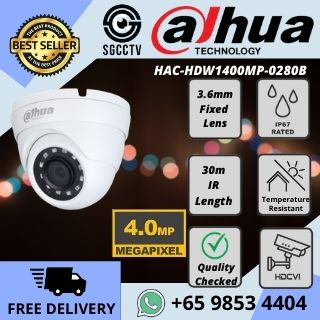CCTV Singapore Dahua Camera IR Dome HAC-HDW1400MP-0280B